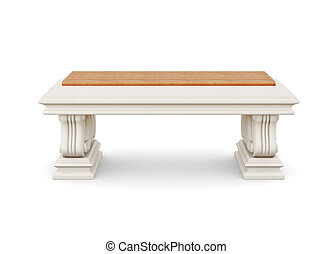 Stone bench with wooden seat isolated. 3d rendering.