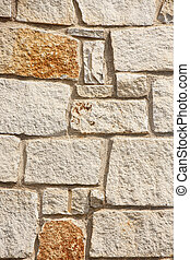 Stone Block Wall with Rust Spots