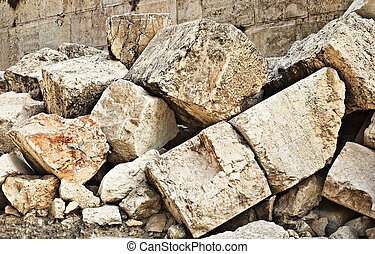 Stone blocks from section of wall surrounding Temple mount (Wailling wall) destroyed by roman soliders