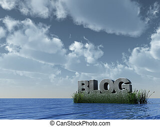 stone blog - blog monument at the ocean - 3d illustration