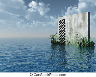stone board at the ocean - 3d illustration
