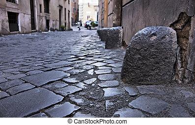 stone bollard in the Jewish Ghetto, Rome