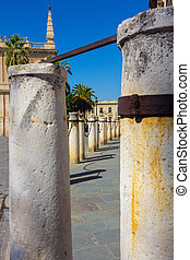 stone bollards around the Cathedral of Seville, Spain