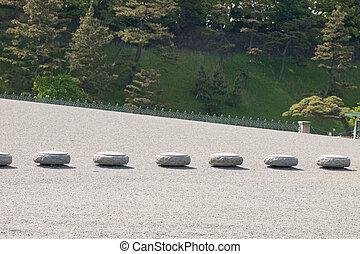 Stone bollards in Tokyo.