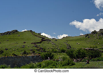 Stone borders in the mountains