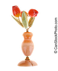 stone bouquet of tulips on a white background