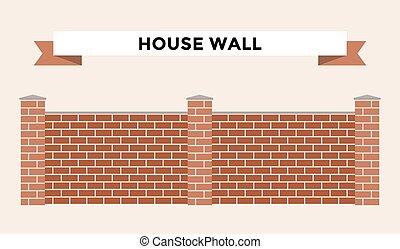 Stone bricks fence isolated on white background - Stone...
