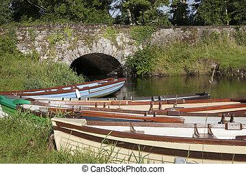 Stone Bridge and Boats in Killarney National Park, County Kerry