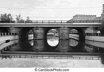 stone bridge black and white