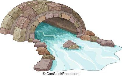 Stone Bridge - Illustration of stone footbridge