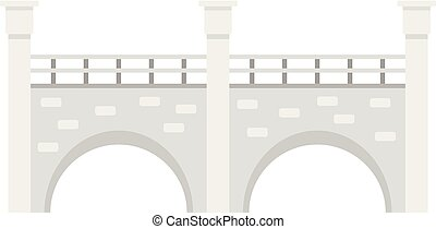 Stone bridge icon, flat style