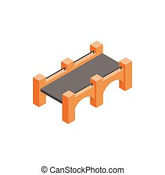 Stone bridge icon, isometric 3d style