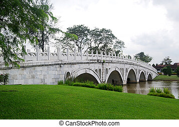 Stone bridge in Chinese garden
