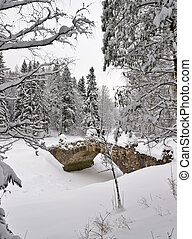 Stone bridge in winter park