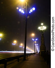 Stone Bridge lights in fog ,Riga