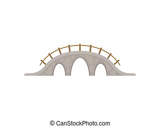 Stone bridge on white background. Vector illustration.