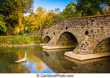 Stone bridge over a creek in Adams County, Pennsylvania.