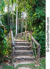 stone bridge over a creek in the jungle