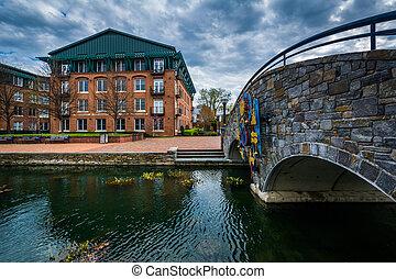 Stone bridge over Carroll Creek, in Frederick, Maryland.