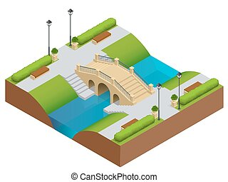 Stone bridge over river. Romantic bridge stone in park. Flat vector landscape with a picture of the nature. Place for rest and walks. Flat 3d vector isometric illustration.