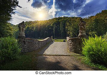 Stone bridge in the park.