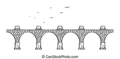 stone bridge - Sketch of the old stone bridge and birds.