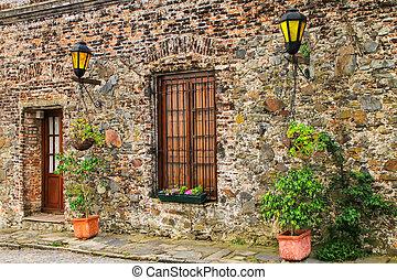 Stone building in historic quarter of Colonia del Sacramento, Uruguay