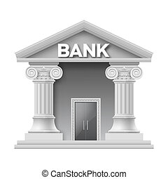 Stone building of bank with two columns