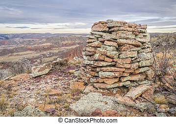 stone cairn in Red Mountain Open Space - stone cairn on ...