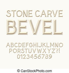 Stone Carve Bevel Alphabet and Numbers, Eps 10 Vector...