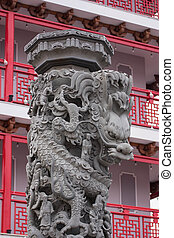 Stone carving Dragon sculpture pole Chinese style