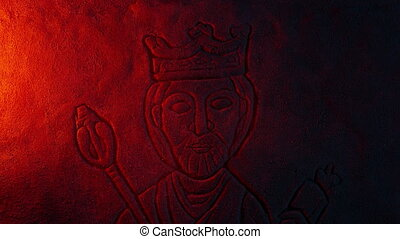 Stone Carving Of King Lit Up In Dusty Tomb - Fire...