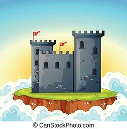 stone castle on island