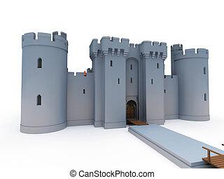 stone castle on white background, 3d rendering, illustration