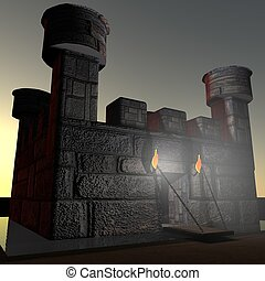 Stone castle with ditch, in darkness, 3d render