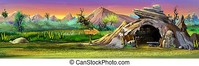 Stone cave. Panorama - Digital painting of Stone cave in...