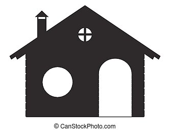 A log chalet silhouette isolated on a white background