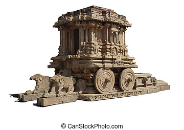 Stone chariot at vittalla temple in hampi; india