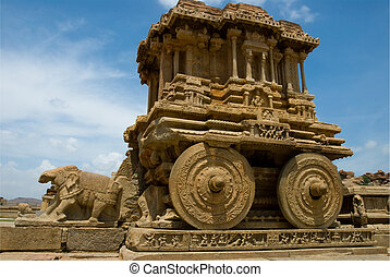 The fantastic stone chariot at the Vittala Temple, Hampi, India.