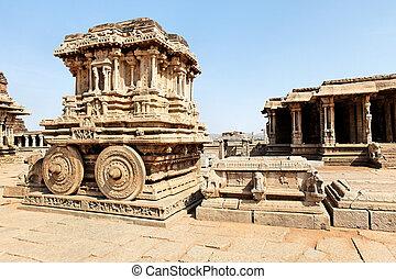 Hampi  - Stone chariot in the templeof Hampi town
