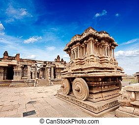 Stone chariot in Vittala temple. Hampi, Karnataka, India