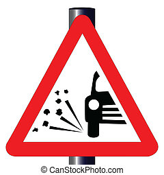 The traditional 'STONE CHIPPING WARNING' triangle, traffic sign isolated on a white background..
