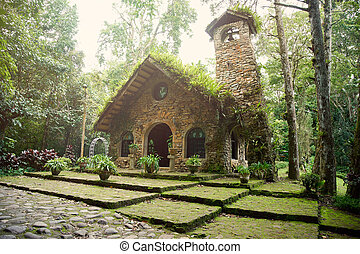 Stone church in forest