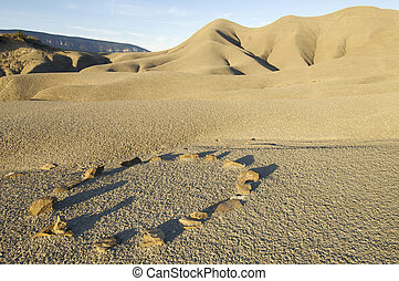 stone circle - stones forming a circle in an arid landscape