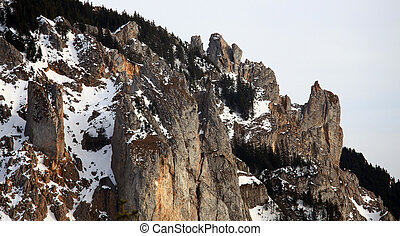 stone cliffs in the mountains of Romania