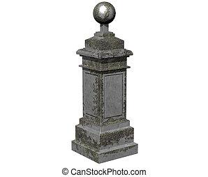 Stone column on white background.3D Rendering.Illustration
