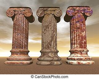 Stone columns - 3D render
