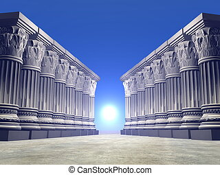 Stone columns - 3D render - Two lines of stone columns or...