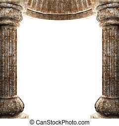 stone columns and arch made in 3D