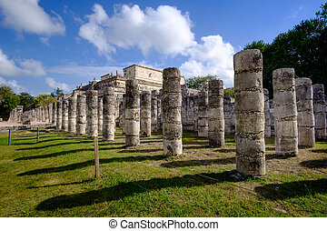 Stone columns and pilars in famous archeological site Chichen Itza